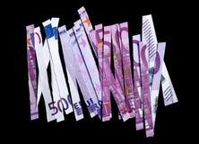 Банкнота 500 евро сломанная в частях Стоковые Фото