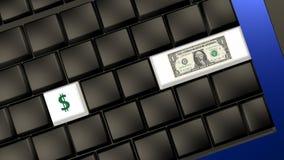 Банкнота и знак доллара на клавиатуре компьтер-книжки Стоковое Изображение RF