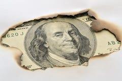 Банкнота и, который сгорели бумага Стоковые Изображения RF