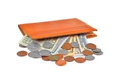 Банкнота и монетка доллара в бумажнике Стоковые Фотографии RF