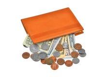 Банкнота и монетка доллара в бумажнике Стоковое Фото