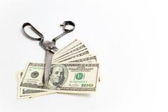 Банкнота долларов отрезков ножниц на белизне Стоковое Изображение RF