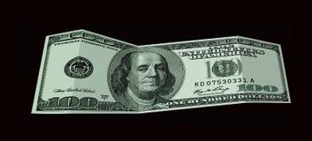 Банкнота 100 долларов США изолированных на черноте Стоковые Изображения