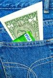 Банкнота одной американских доллара и визы кредитной карточки Стоковое фото RF