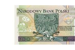 Банкнота польского злотого 100 на белой предпосылке Стоковое Изображение RF