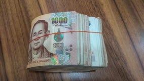Банкнота Таиланда блока отсчета наличных денег стоковые фотографии rf