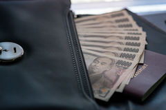 Банкнота Японии для путешественника Стоковая Фотография