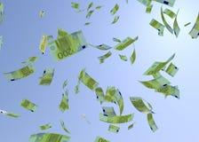 Банкнота 3d евро Faling представляет на белизне иллюстрация штока