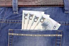 Банкнота RMB в карманн Стоковые Фото