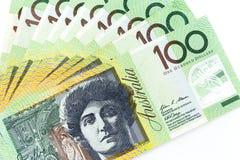 Банкноты валюты распространенные через доллар рамки австралийский Стоковое Изображение