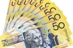 Банкноты валюты распространенные через доллар рамки австралийский Стоковая Фотография RF