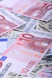 Банкноты валюты евро Европейская и американская предпосылка денег Стоковое Фото