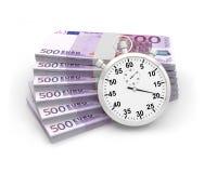 Банкноты времени секундомера Стоковые Фото