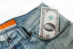 Банкноты в карманн джинсов Стоковая Фотография RF