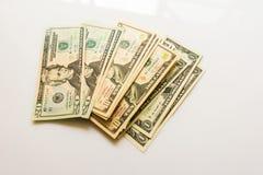 Банкноты доллара конца-вверх американские Стоковое фото RF