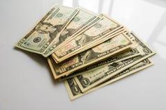 Банкноты доллара конца-вверх американские Стоковое Изображение