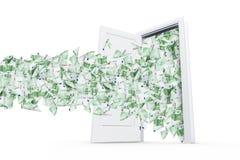 Банкноты евро в белой двери Стоковое Фото