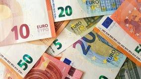 Банкноты евро в куче стоковое изображение