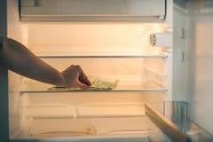 Банкноты евро в пустом холодильнике: пригорошня 100 банкнот евро в пустом холодильнике Женские деньги взятия руки от fri Стоковые Фотографии RF