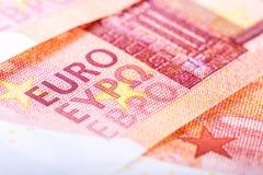 Банкноты евро, детальный текст на банкнотах новых 10 евро Стоковое Изображение RF