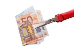 Банкноты евро зажатые в плоскогубцах плоск-носа Стоковая Фотография