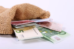 Банкноты евро закрывают вверх, европейская валюта Стоковые Фотографии RF