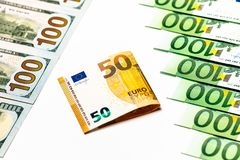 Банкноты евро закрывают вверх Нескольк 100 банкнот евро Стоковые Изображения RF