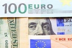 Банкноты евро и долларов Стоковая Фотография RF