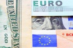 Банкноты евро и долларов Стоковые Фотографии RF