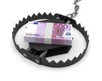 Банкноты евро ловушки валюты риска денег Стоковые Изображения