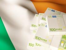 Банкноты евро над флагом Ирландии Стоковое Изображение RF