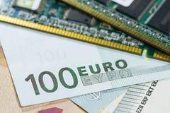 Банкноты евро с концом RAM вверх Стоковые Фото