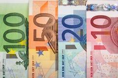 Банкноты евро с различной деноминацией Стоковое Изображение RF