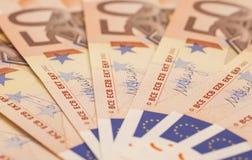 Банкноты денег евро евро 50 Стоковые Фото