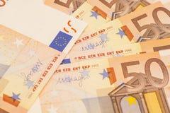 Банкноты денег евро евро 50 Стоковые Изображения