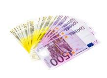 Банкноты денег евро изолированные на белой предпосылке Стоковые Изображения RF