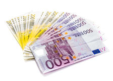 Банкноты денег евро изолированные на белых наличных деньгах предпосылки Стоковые Изображения RF