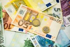 Банкноты денег евро как предпосылка Стоковые Изображения