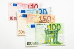 Банкноты денег евро на белизне Стоковая Фотография RF