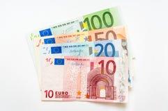 Банкноты денег евро на белизне Стоковое фото RF