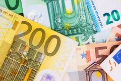 Банкноты денег евро Стоковое Фото