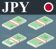 Банкноты иен Равновеликая иллюстрация вектора дизайна Стоковые Изображения
