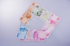Банкноты лиры Turksh различных цвета, картины и значения Стоковое Изображение