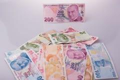 Банкноты лиры Turksh различных цвета, картины и значения Стоковое Изображение RF