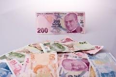 Банкноты лиры Turksh различных цвета, картины и значения Стоковые Изображения
