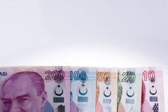 Банкноты лиры Turksh различных цвета, картины и значения Стоковые Изображения RF