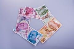 Банкноты лиры Turksh различных цвета, картины и значения Стоковое фото RF