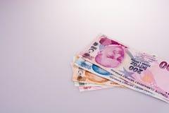 Банкноты лиры Turksh различных цвета, картины и значения Стоковая Фотография RF