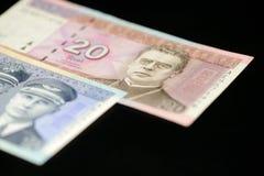Банкноты 10 и 20 литовских litas на темной предпосылке Стоковые Изображения RF