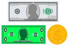 Банкноты и монетка денег игры иллюстрация штока